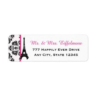 Torre Eiffel del damasco de las rosas fuertes Etiqueta De Remite
