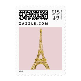 Torre Eiffel del encanto del oro Estampilla