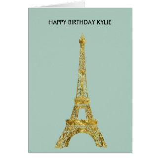 Torre Eiffel del encanto del oro Tarjeta De Felicitación