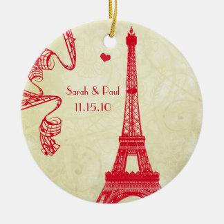 Torre Eiffel del navidad Adorno Navideño Redondo De Cerámica