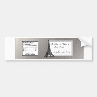Torre Eiffel del negro de la etiqueta de la botell Pegatina Para Auto