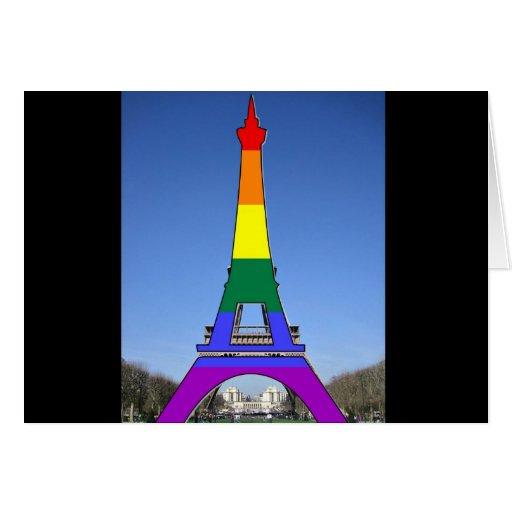Torre Eiffel del orgullo del arco iris Felicitaciones