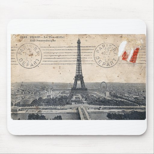 Torre Eiffel del vintage Alfombrillas De Ratón