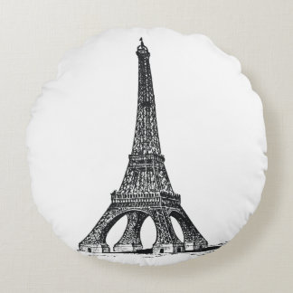 Torre Eiffel del vintage Cojín Redondo