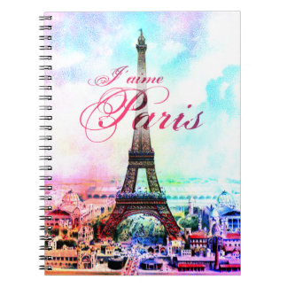 Torre Eiffel del vintage del arte pop Libros De Apuntes