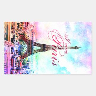 Torre Eiffel del vintage del arte pop Rectangular Pegatinas