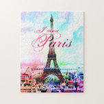Torre Eiffel del vintage del arte pop Puzzle