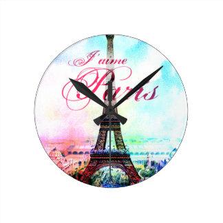 Torre Eiffel del vintage del arte pop Relojes De Pared