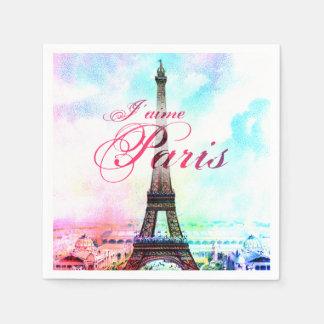 Torre Eiffel del vintage del arte pop Servilletas De Papel