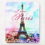 Torre Eiffel del vintage del arte pop Alfombrillas De Ratón