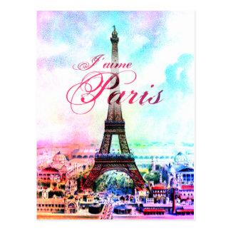 Torre Eiffel del vintage del arte pop Tarjetas Postales
