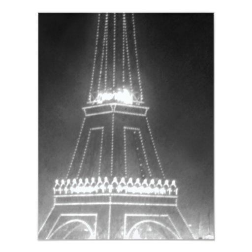 """Torre Eiffel del vintage en la noche Invitación 4.25"""" X 5.5"""""""