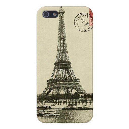 Torre Eiffel del vintage en París Francia iPhone 5 Cobertura