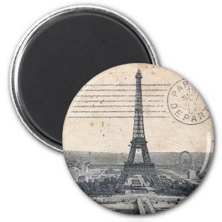 Torre Eiffel del vintage Imán Redondo 5 Cm