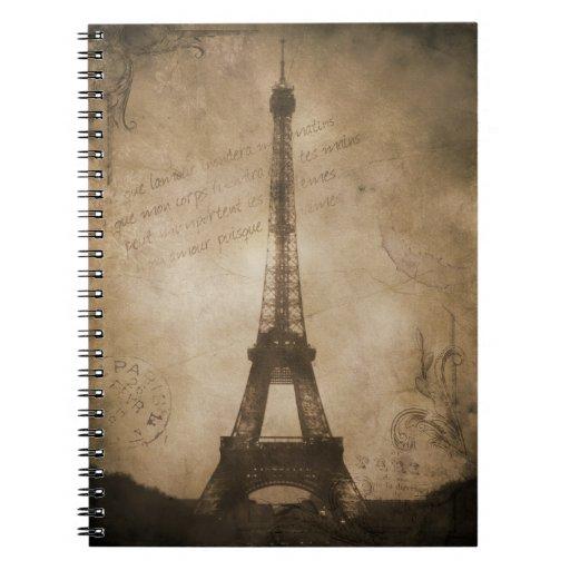 torre Eiffel del vintage Libreta