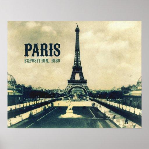 Torre Eiffel del vintage, París, 1889 Posters