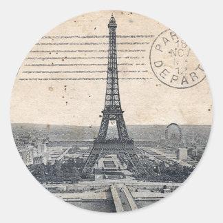 Torre Eiffel del vintage Etiqueta Redonda