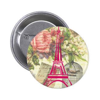 Torre Eiffel del vintage Pin Redondo De 2 Pulgadas