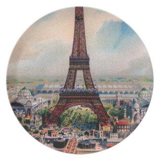 Torre Eiffel del vintage Platos Para Fiestas