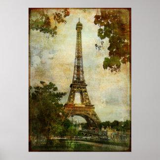 Torre Eiffel del vintage Póster