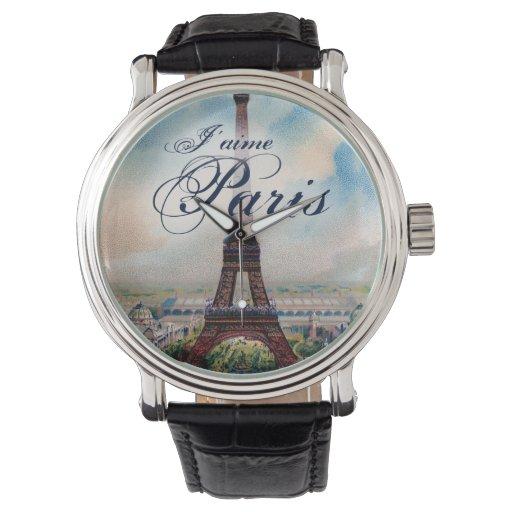 Torre Eiffel del vintage Relojes De Mano