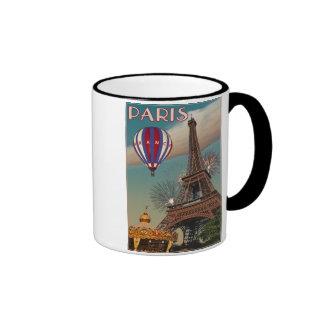 Torre Eiffel del vintage Tazas De Café