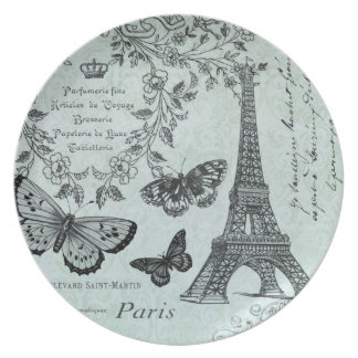 Torre Eiffel del vintage y placa de mariposas Plato