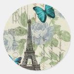 torre Eiffel elegante de la mariposa del vintage Etiqueta Redonda