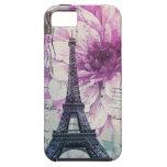 torre Eiffel elegante de París del vintage floral iPhone 5 Case-Mate Fundas
