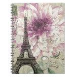 torre Eiffel elegante de París del vintage floral Libro De Apuntes Con Espiral