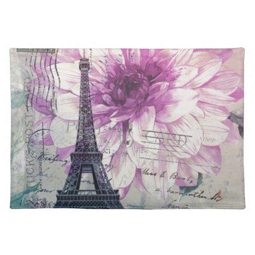 torre Eiffel elegante de París del vintage floral Manteles