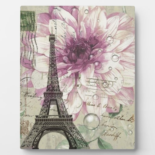 torre Eiffel elegante de París del vintage floral Placa De Plastico