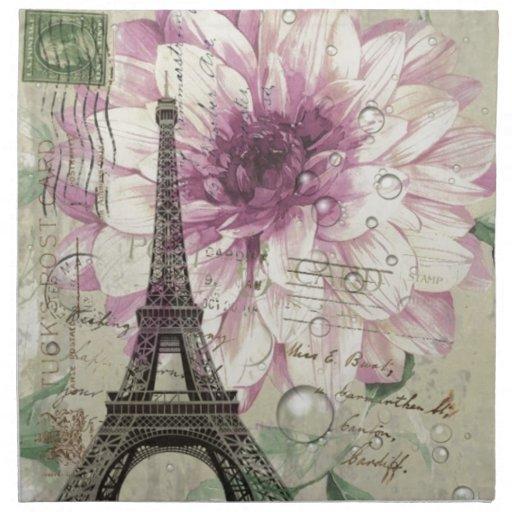 torre Eiffel elegante de París del vintage floral Servilleta