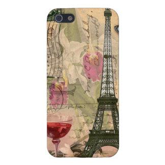 Torre Eiffel elegante lamentable de París y vino iPhone 5 Fundas