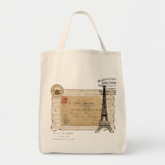 Torre Eiffel elegante lamentable del vintage de Pa Bolsa Tela Para La Compra