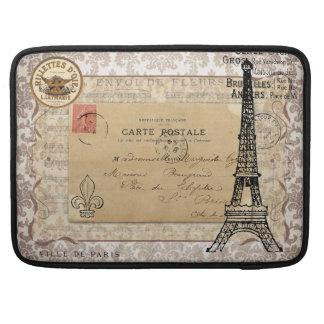 Torre Eiffel elegante lamentable del vintage de Pa Funda Para Macbook Pro