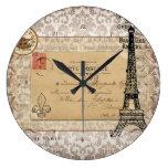 Torre Eiffel elegante lamentable del vintage de Pa Reloj De Pared