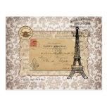 Torre Eiffel elegante lamentable del vintage de Pa Postales
