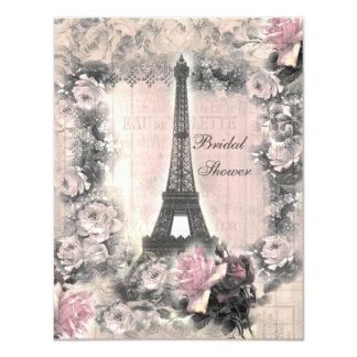 """Torre Eiffel elegante lamentable y ducha nupcial Invitación 4.25"""" X 5.5"""""""