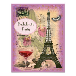 Torre Eiffel elegante lamentable y vino rojo Bache Invitacion Personalizada