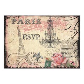 """Torre Eiffel elegante y lámpara RSVP Invitación 3.5"""" X 5"""""""