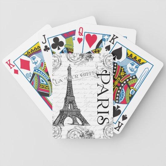 Torre Eiffel en blanco y negro Baraja De Cartas Bicycle