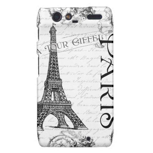 Torre Eiffel en blanco y negro Droid RAZR Funda