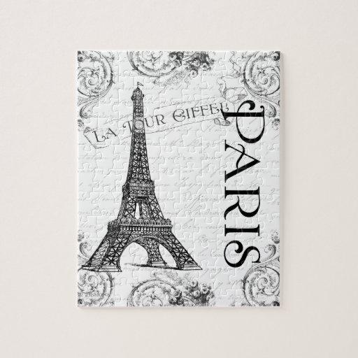 Torre Eiffel en blanco y negro Puzzle Con Fotos