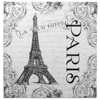 Torre Eiffel en blanco y negro Servilleta