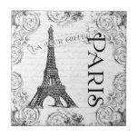 Torre Eiffel en blanco y negro Tejas