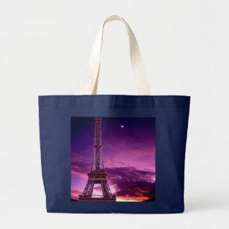 Torre Eiffel en cielo de la sol Bolsa De Tela Grande