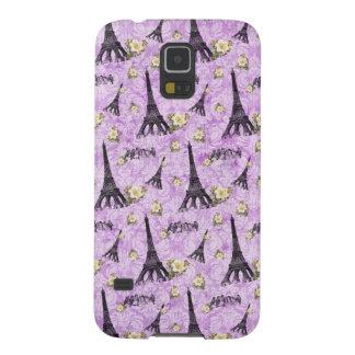 Torre Eiffel en el damasco púrpura Carcasa Para Galaxy S5