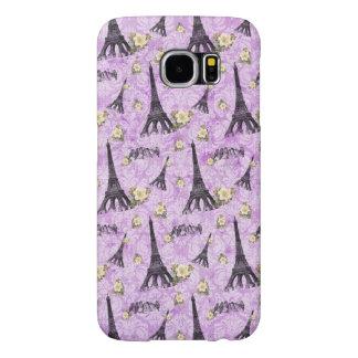 Torre Eiffel en el damasco púrpura Fundas Samsung Galaxy S6