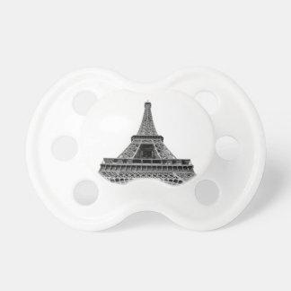 Torre Eiffel en el fondo blanco Chupete De Bebe